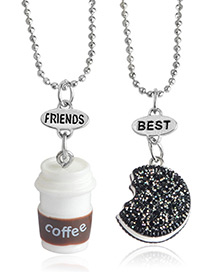 Fashion Black+white Coffee Cup&cookies Pendant Decorated Necklace (2pcs)