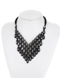 Fashion Black Oval Shape Diamond Decorated Pure Color Necklace