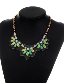 Fashion Multi-color Diamond Decorated Color Matching Necklace