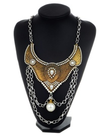 Fashion Gold Color Pearls&chains Decorated Simple Necklace