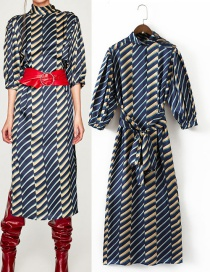 Trendy Multi-color Stripe Pattern Decorated Long Dress