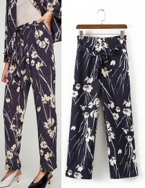 Trendy Multi-color Flower Pattern Decorated Simple Trousers