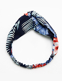 Fashion Navy Flower Pattern Decorated Hair Band