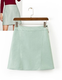 Fashion Green Pure Color Decorated Simple Skirt
