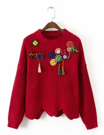 Fashion Red Tassel&button Pattern Decorated Sweater