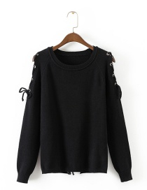 Fashion Black Pure Color Decorated Hollow Out Sweater