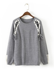 Fashion Gray Pure Color Decorated Hollow Out Sweater