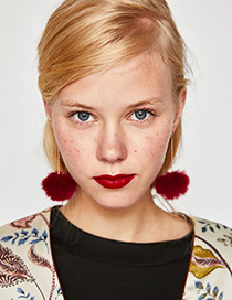 Fashion Claret Red Fuzzy Ball Decorated Pure Color Pom Earrings