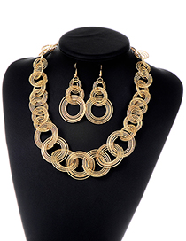 Fashion Gold Color Circular Rings Decorated Pure Color Jewelry Sets