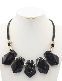 Trendy Black Geometric Shape Decorated Jewelry Sets