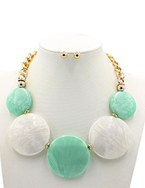 Trendy Green+white Round Shape Decorated Jewelry Sets