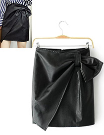 Fashion Black Bowknot Decorated Pure Color Skirt