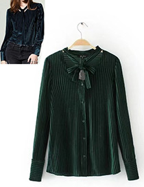 Fashion Green Stripe Pattern Decorated Long Sleeves Shirt