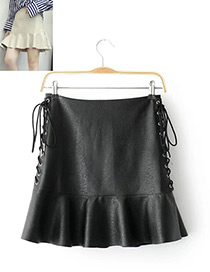 Fashion Black Pure Color Decorated Bandage Design Skirt