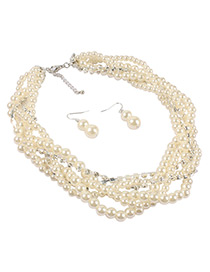 Fashion Beige Beads Decorated Multi-layer Jewelry Sets