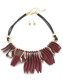 Trendy Red Leaf Shape Decorated Jewelry Sets