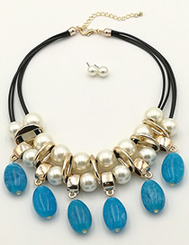 Fashion Blue Pearls Decorated Double Layer Jewelry Sets