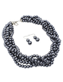 Fashion Gray Pearls Decorated Pure Color Jewelry Sets