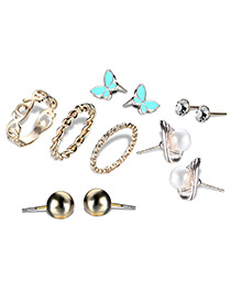 Fashion Gold Color Flower&butterfly Decorated Jewelry Sets