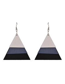Vintage Black+white Triangle Shape Decorated Multi-layer Earrings