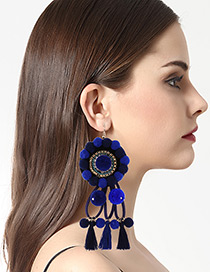 Exaggerated Blue Tassel Decorated Round Earrings