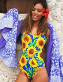 Sexy Multi-color Sunflower Pattern Decorated Bikini