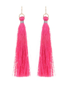 Fashion Pink Pure Color Decorated Long Tassel Earrings