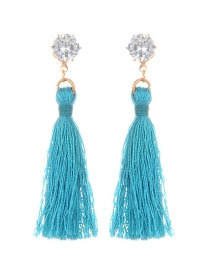 Fashion Blue Diamomd Decorated Long Tassel Earrings