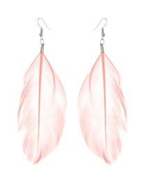 Fashion Light Pink Feather Decorated Pure Color Earrings