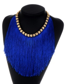 Fashion Sapphire Blue Long Tassel Decorated Simple Necklace