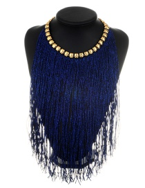 Fashion Navy Long Tassel Decorated Simple Necklace