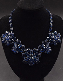 Fashion Dark Blue Gemstone Decorated Flower Shape Necklace