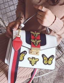 Fashion White Bee&butterfly Decorated Shoulder Bag