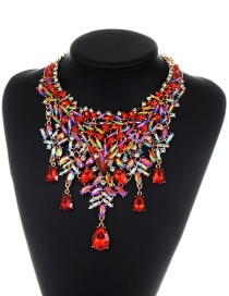 Fashion Red Geometric Shape Diamond Decorated Necklace
