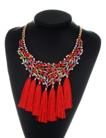 Fashion Red Tassel Decorated Hollow Out Necklace