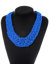 Fashion Blue Beads Decorated Pure Color Necklace