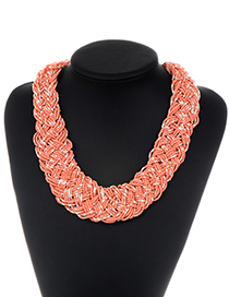 Fashion Orange Beads Decorated Pure Color Necklace