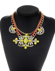 Personality Yellow Hollow Out Decorated Necklace