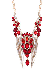 Luxury Red Diamond Decorated Tasssel Necklace