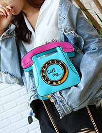 Personality Blue Phone Shape Decorated Bag
