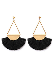 Exaggerated Black Tassel Decorated Earrings