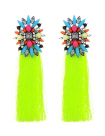Elegant Yellow Geometric Shape Decorated Tassel Earrings