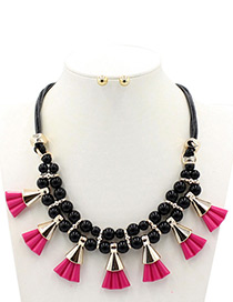 Bohemia Plum-red Fan Shape Decorated Double Layer Jewelry Sets