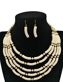 Personality Beige Pure Color Decorated Multilayer Jewelry Sets