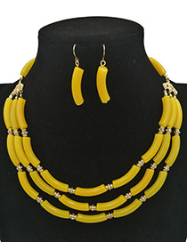 Exaggerated Yellow Pure Color Decorated Multilayer Jewelry Sets