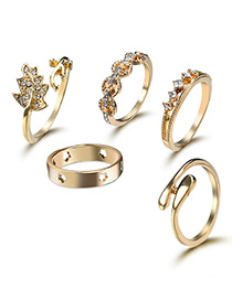 Elegant Gold Color Leaf Shape Decorated Rings (5pcs)