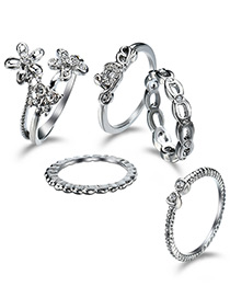 Elegant Silver Color Flower Shape Decorated Rings (5pcs)