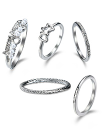 Elegant Silver Color Pure Color Decorated Rings (5pcs)