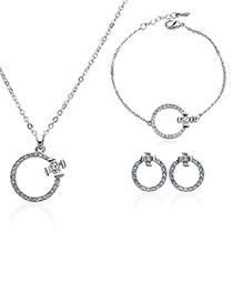 Elegant Silver Color Round Shape Decorated Jewelry Sets