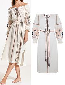 Bohemia White Rose Shape Decorated Long Dress